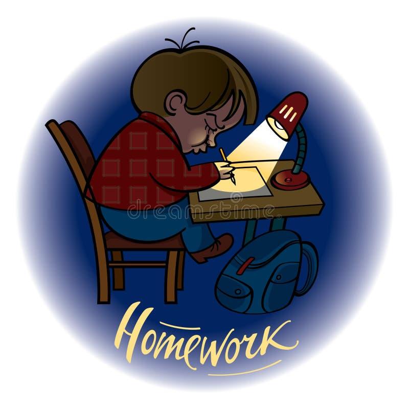 Homework. – little schoolboy doing his task vector illustration