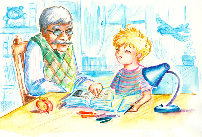 Homework. Grandfather helping his grandson with homework.Picture I have created myself with watercolors vector illustration