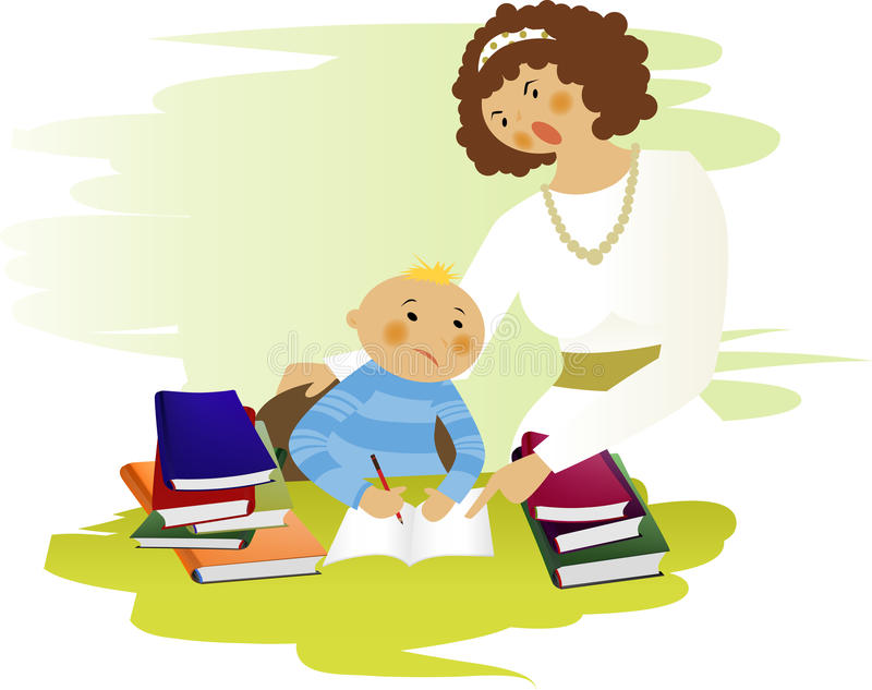 Homework. A young boy don't want to do his homework vector illustration