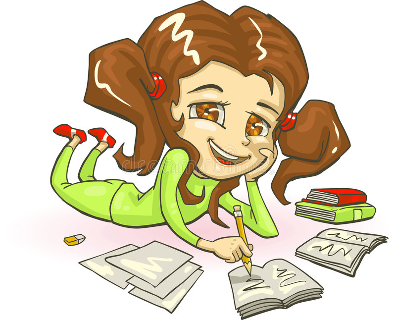 Homework. Vector illustration of school girl doing homework vector illustration