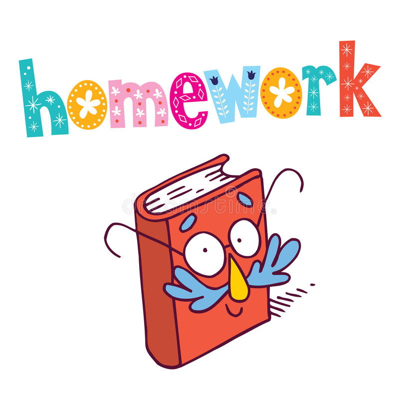 Homework. Decorative type lettering design with book mascot character stock illustration
