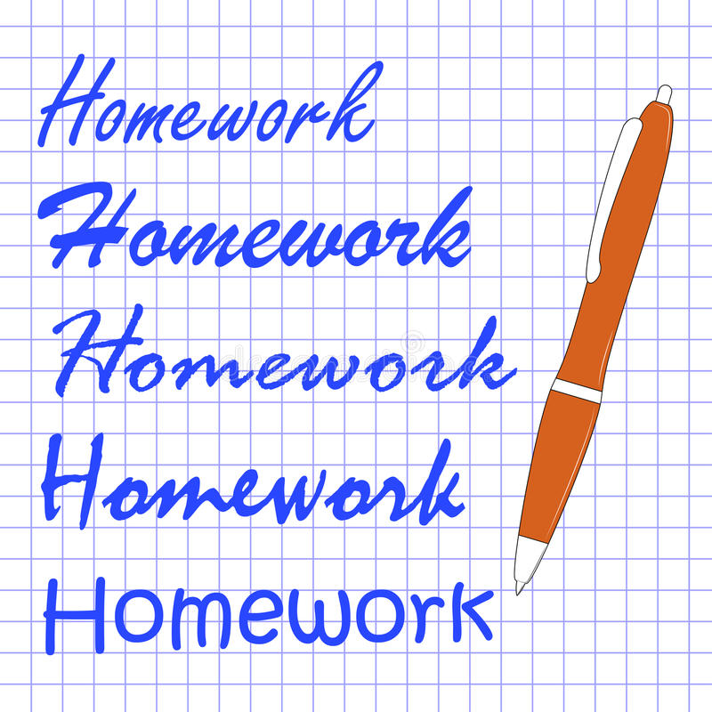 Homework different handwriting on notebook sheet royalty free stock photography