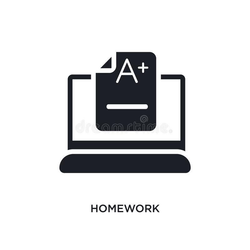 Homework isolated icon. simple element illustration from e-learning and education concept icons. homework editable logo sign. Symbol design on white background royalty free illustration