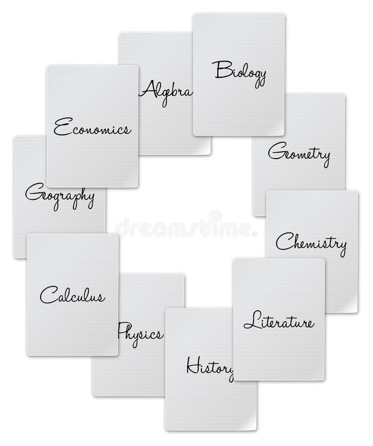 Homework List. Courses On a White Background stock illustration