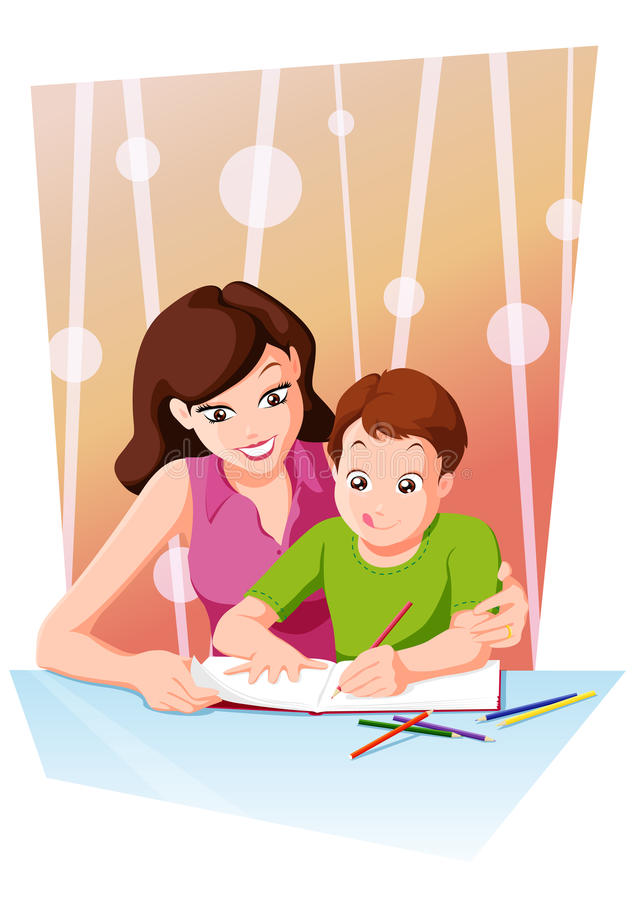Homework with mom. Mom helping her daughter with homework or schoolwork at home vector illustration
