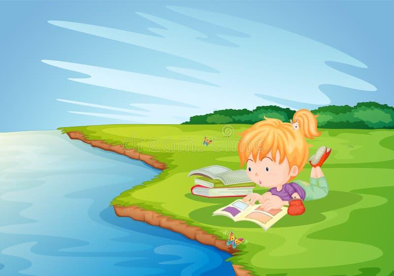 Homework in the park. Girl doing homework in the park royalty free illustration