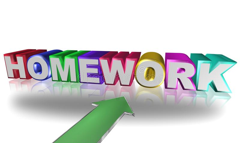 Homework. Text 'homework' in colored 3D uppercase letters with a large green arrow pointing to the text, reflections and white background royalty free illustration