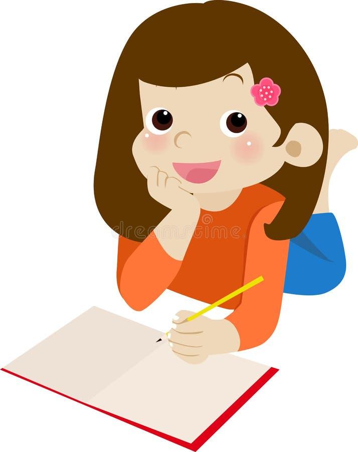 Homework time. Illustration of cute girl homework time stock illustration
