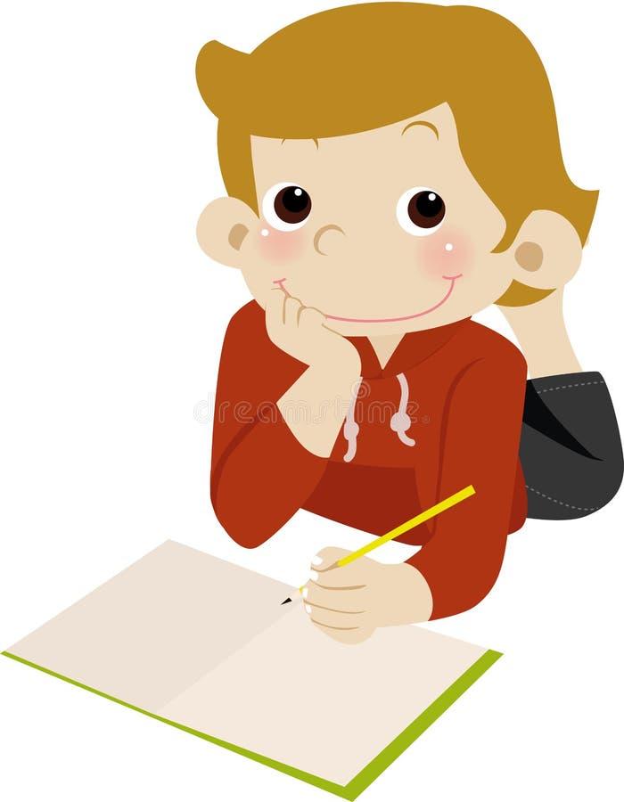 Homework time. Illustration of cute boy homework time vector illustration