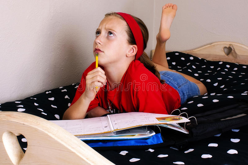Homework trouble royalty free stock images