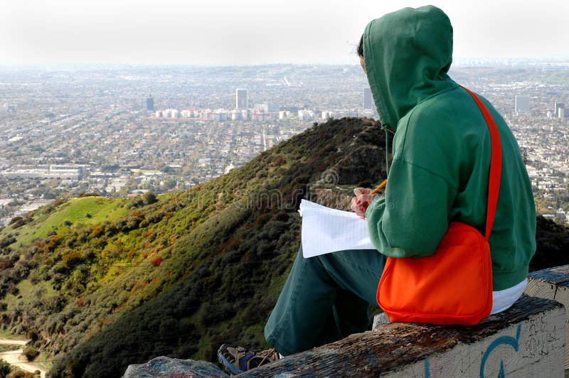 Homework with a view royalty free stock image