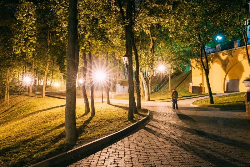 Homiel', Homiel, Bielorussia Passaggi pedonali o strade accesi, bosco verde e frondoso alla notte nel parco della città fotografie stock libere da diritti