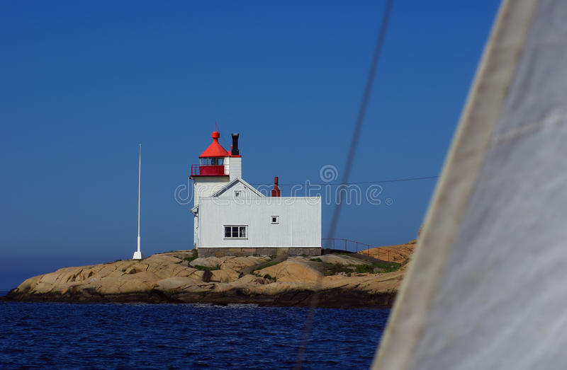 Homlungen Lighthouse in Norway. Homlungen Fyr (Lighthouse) in the municipailty of Hvaler in Southern Norway close to the border to Sweden photographed from a stock image