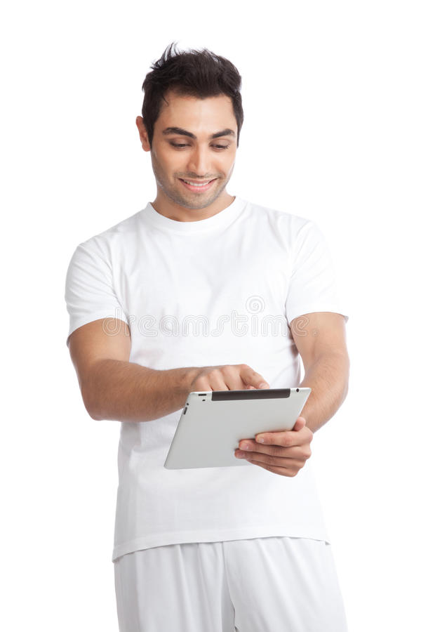 Homme à l'aide de la Tablette de Digital photo libre de droits