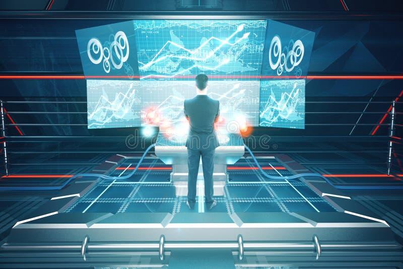 Homme à l'aide du dos futuriste de benchboard images stock
