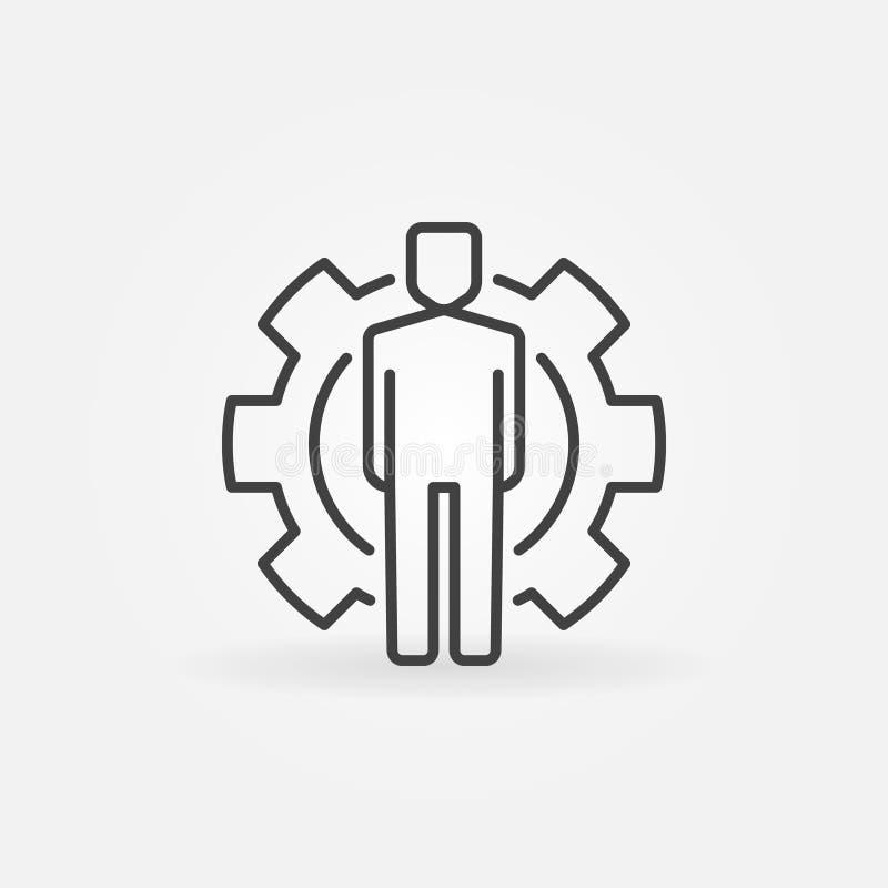 Homme à l'intérieur de ligne icône de concept de vecteur de vitesse ou d'élément de conception illustration de vecteur
