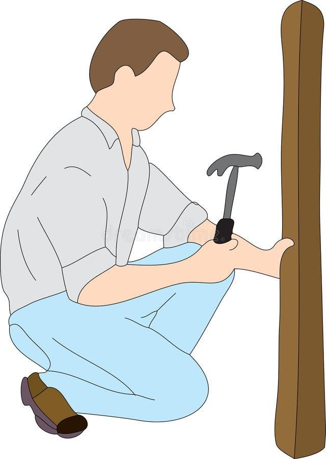 Homme à la maison de réparation illustration de vecteur