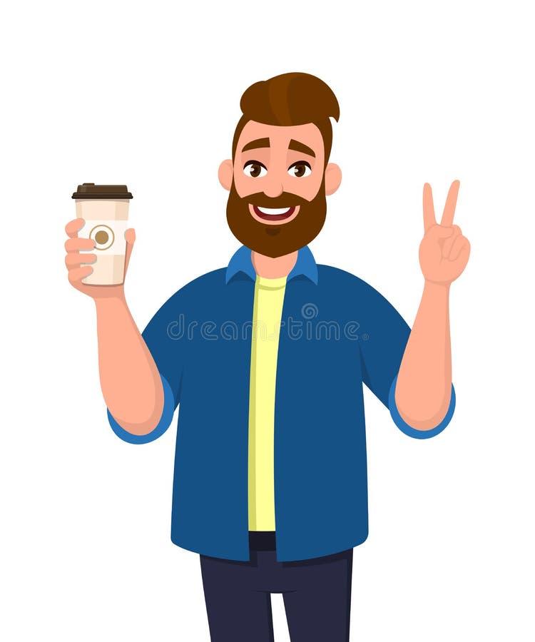 Homme à la mode barbu gai tenant une tasse de café et montrant, faisant des gestes ou faisant la victoire, V, signe de paix avec  illustration de vecteur