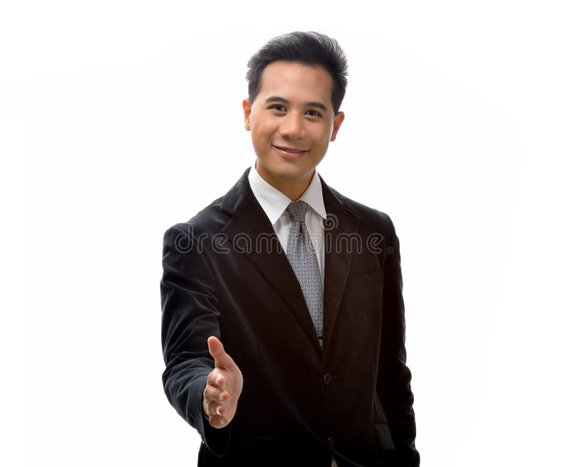 Homme à la poignée de main image stock