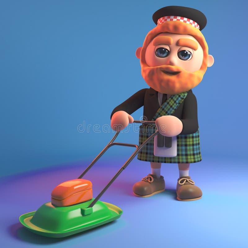 Homme écossais barbu avec le kilt fauchant la pelouse avec une tondeuse à gazon planante, illustration 3d illustration stock