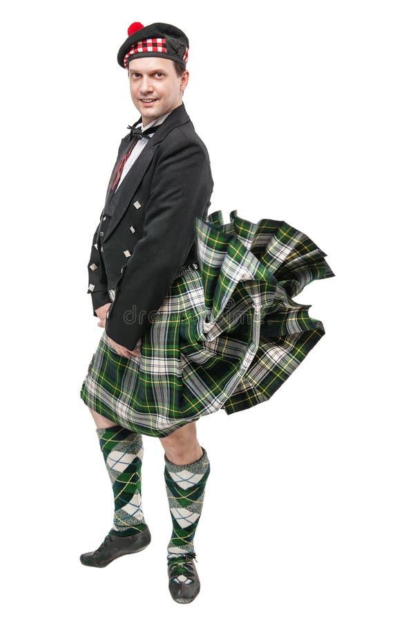 homme cossais dans le costume national traditionnel avec le kilt de soufflement image stock. Black Bedroom Furniture Sets. Home Design Ideas
