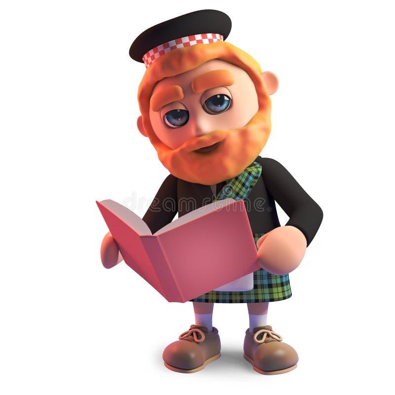 Homme écossais instruit dans le kilt lisant un livre, illustration 3d illustration libre de droits