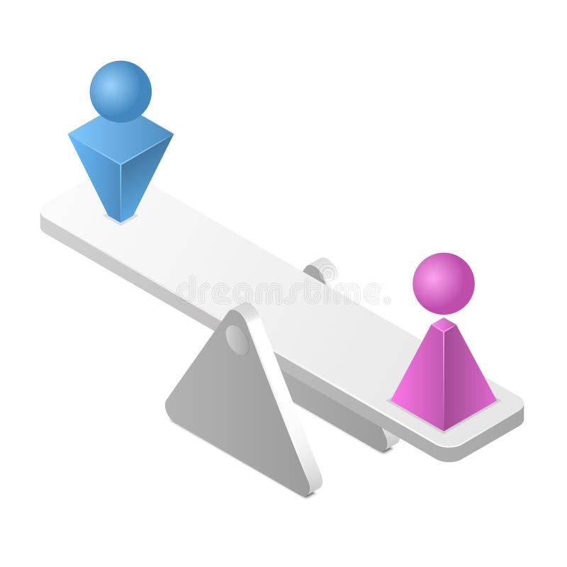 Homme égal à la femme sur une échelle Concept d'égalité entre les sexes d'isolement sur le fond blanc Illustration isométrique de illustration libre de droits