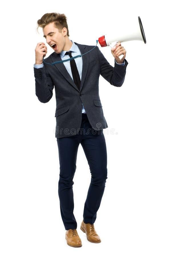 Homme élégant avec le mégaphone photo libre de droits
