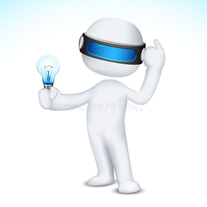 homme 3d avec l'ampoule illustration stock