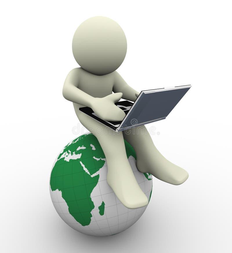 homme 3d avec l'ordinateur portatif illustration libre de droits