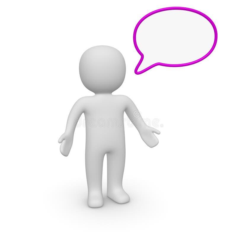 homme 3d avec la bulle de la parole illustration libre de droits