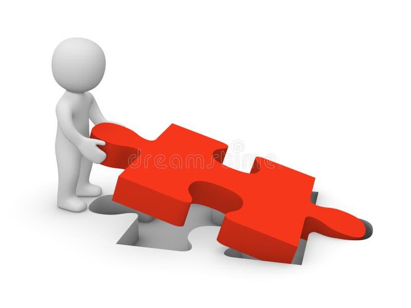 homme 3d avec la partie de puzzle illustration libre de droits