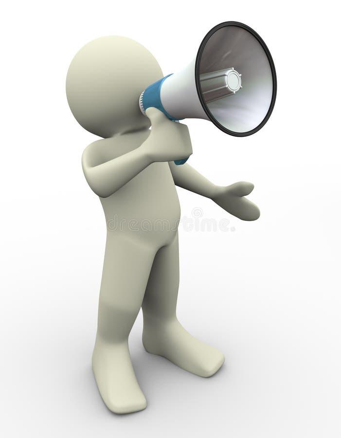 homme 3d avec le mégaphone illustration stock