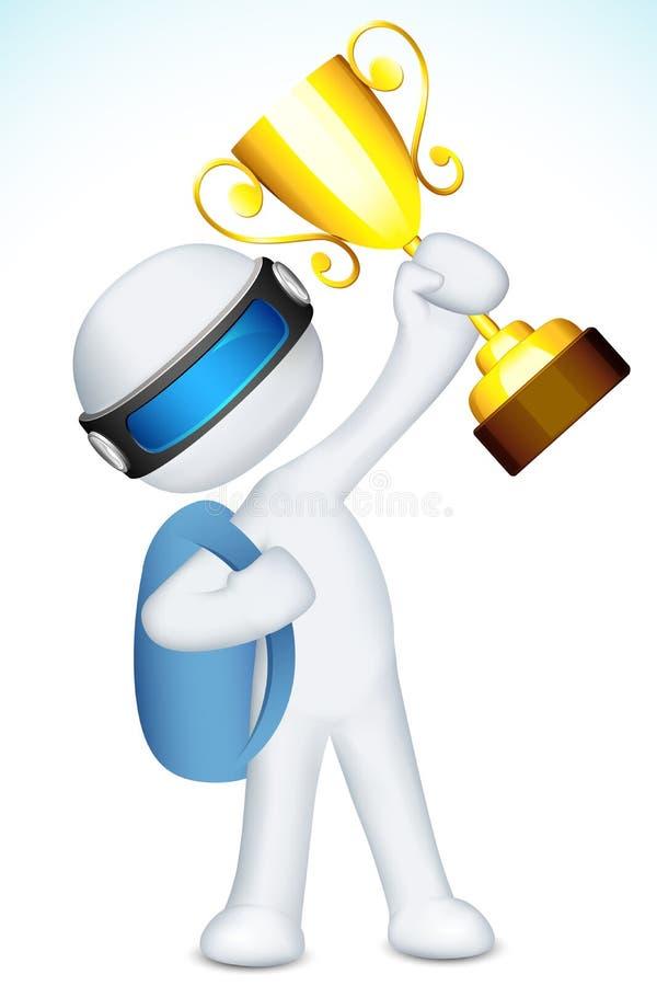 homme 3d avec le trophée illustration stock