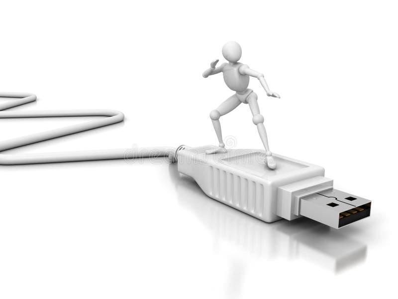 Homme 3d blanc surfant sur le câble blanc de connexion d'usb illustration stock