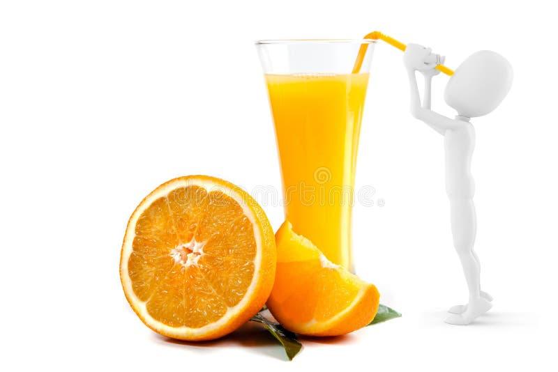 homme 3d buvant du jus d'orange illustration stock