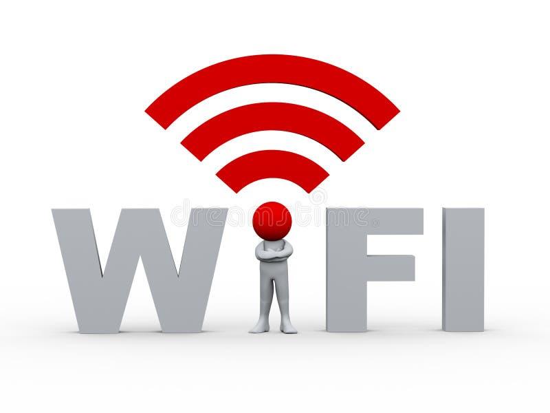 homme 3d dans le wifi illustration libre de droits