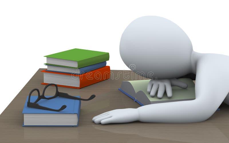 homme 3d de sommeil avec des livres illustration stock