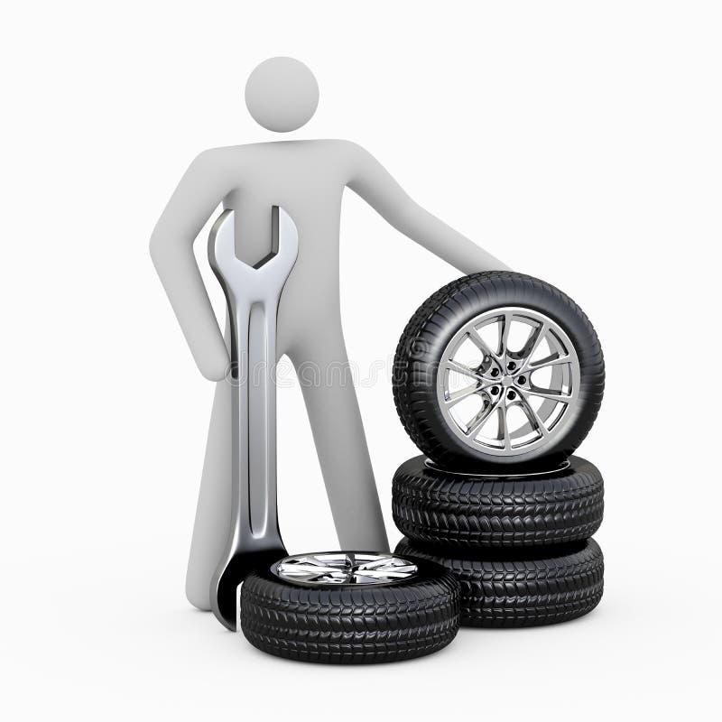 homme 3D et pneus illustration de vecteur