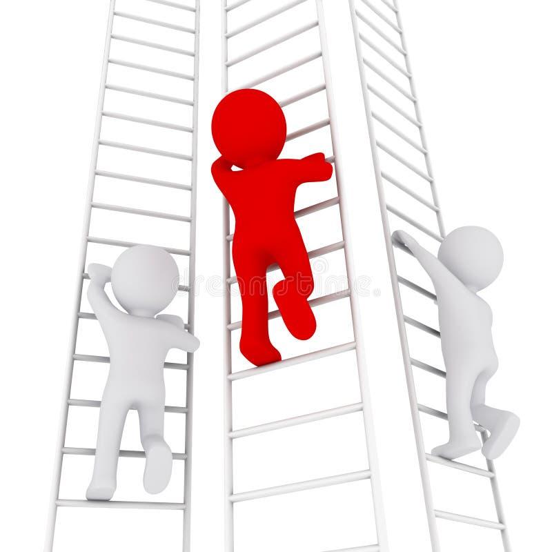 homme 3D montant vers le haut l'échelle illustration libre de droits