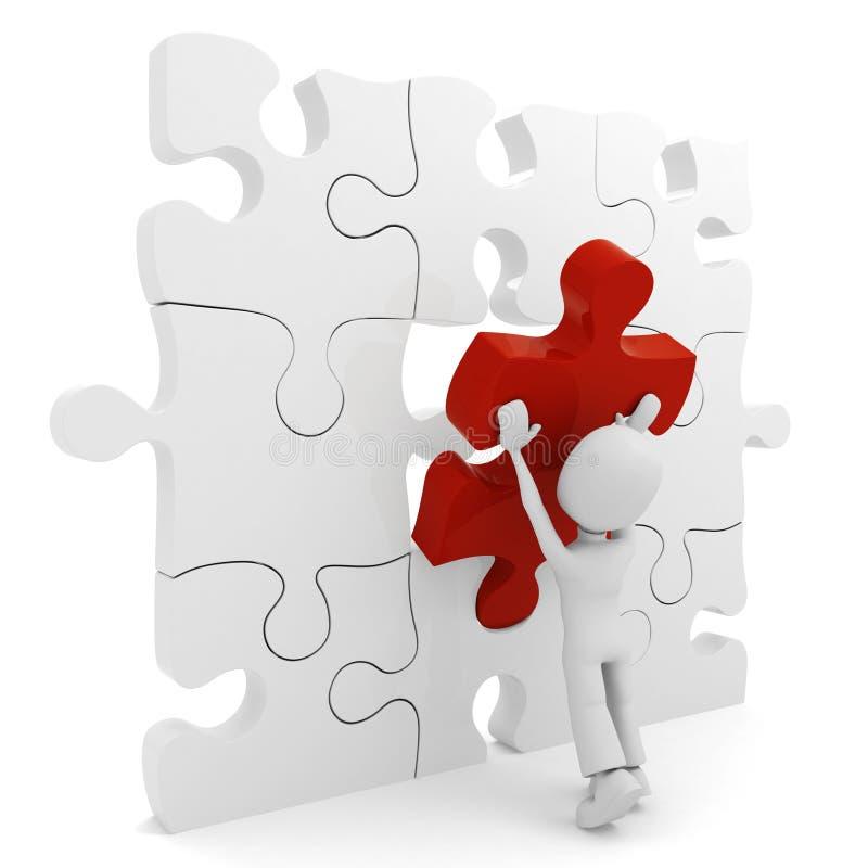 homme 3d poussant une partie de puzzle illustration stock