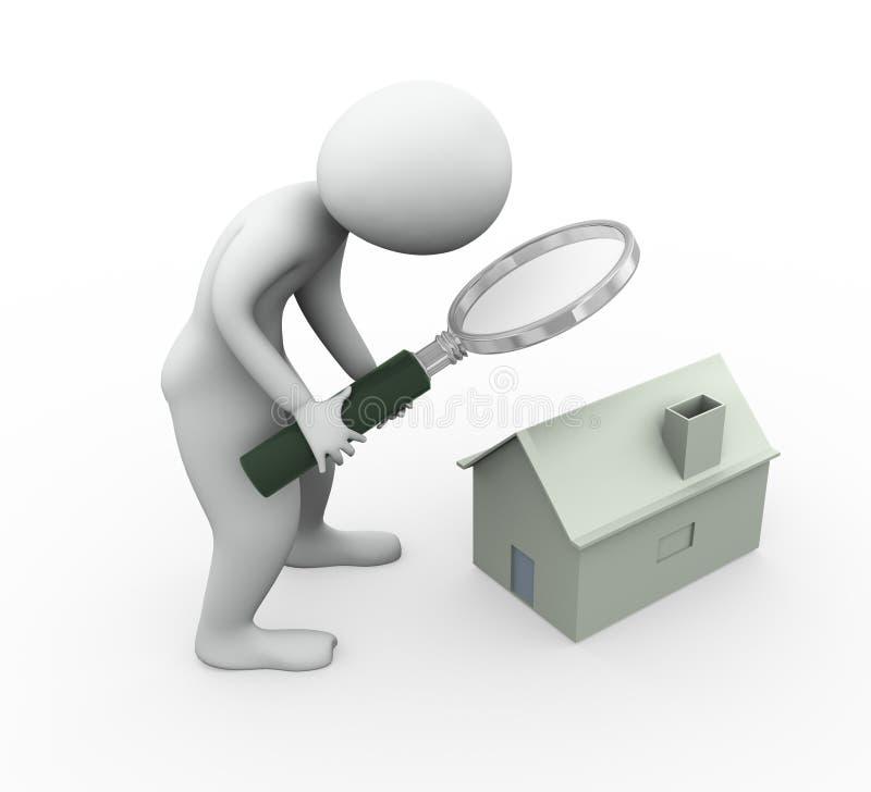 homme 3d recherchant la maison illustration de vecteur