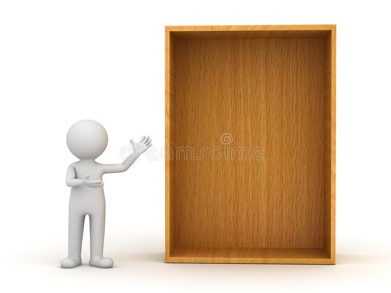 homme 3d restant et présent l'étagère en bois blanc ou illustration libre de droits