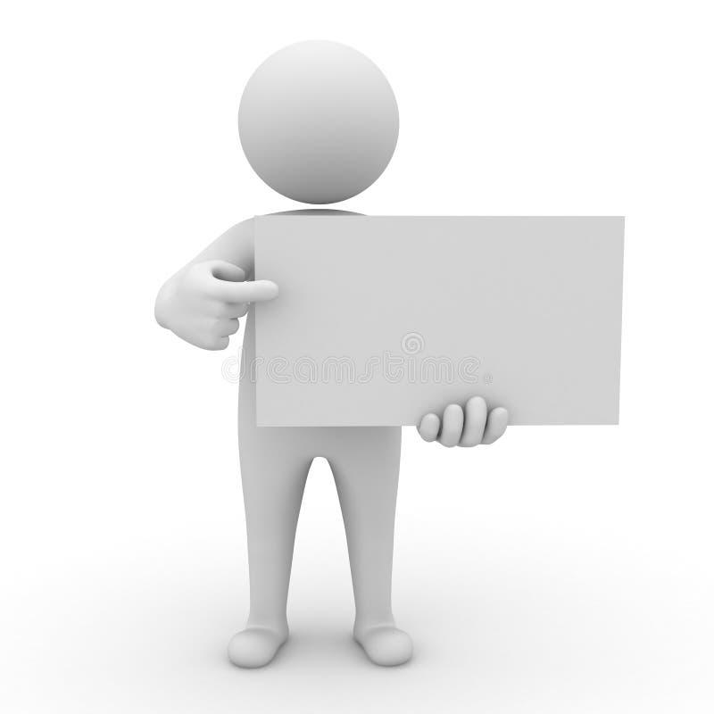 homme 3d retenant le panneau blanc illustration libre de droits