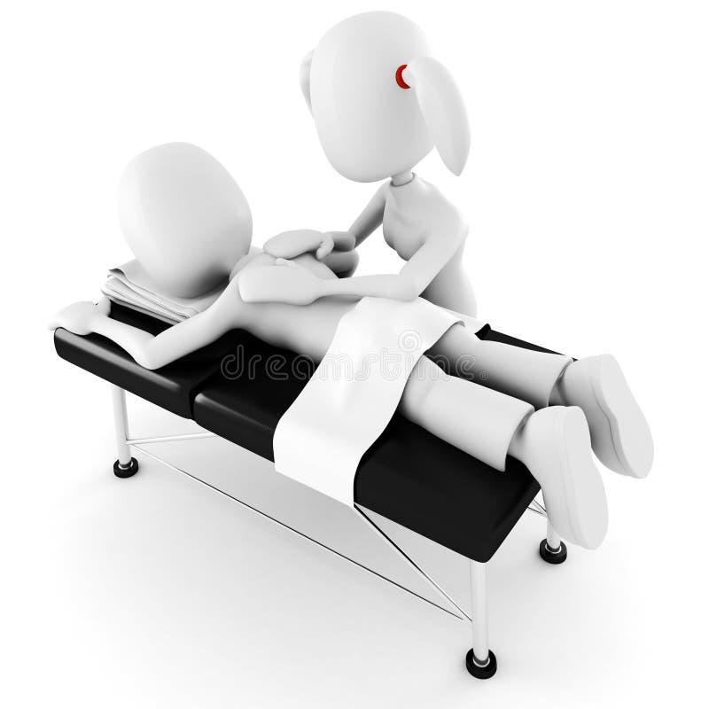 homme 3d, s'étendant sur une table de massage illustration de vecteur