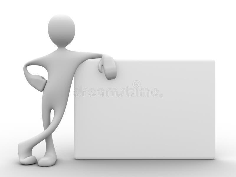 homme 3d s'appuyant sur le panneau blanc illustration de vecteur