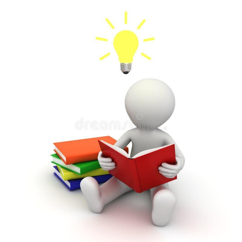 homme 3d s'asseyant sur l'étage et affichant un livre avec l'ampoule d'idée au-dessus de sa tête illustration stock