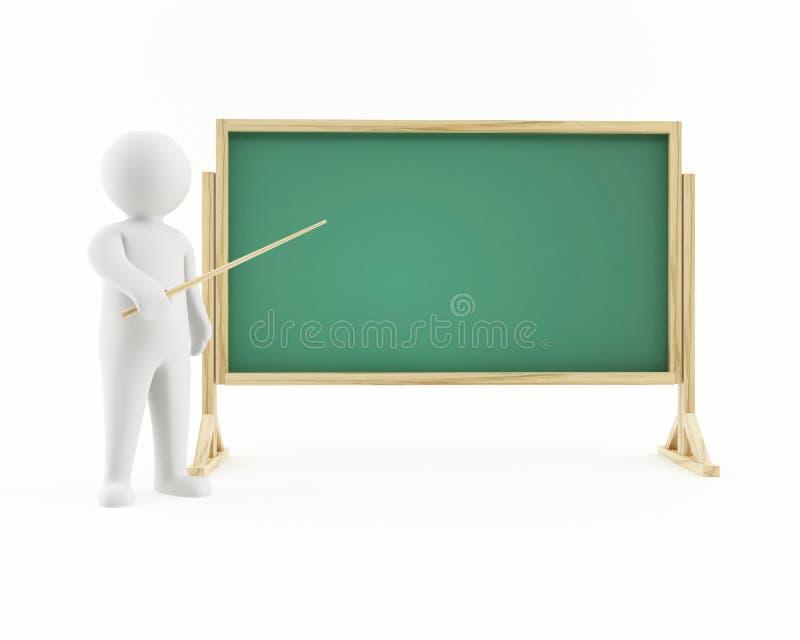 homme 3D se dirigeant à un tableau illustration de vecteur