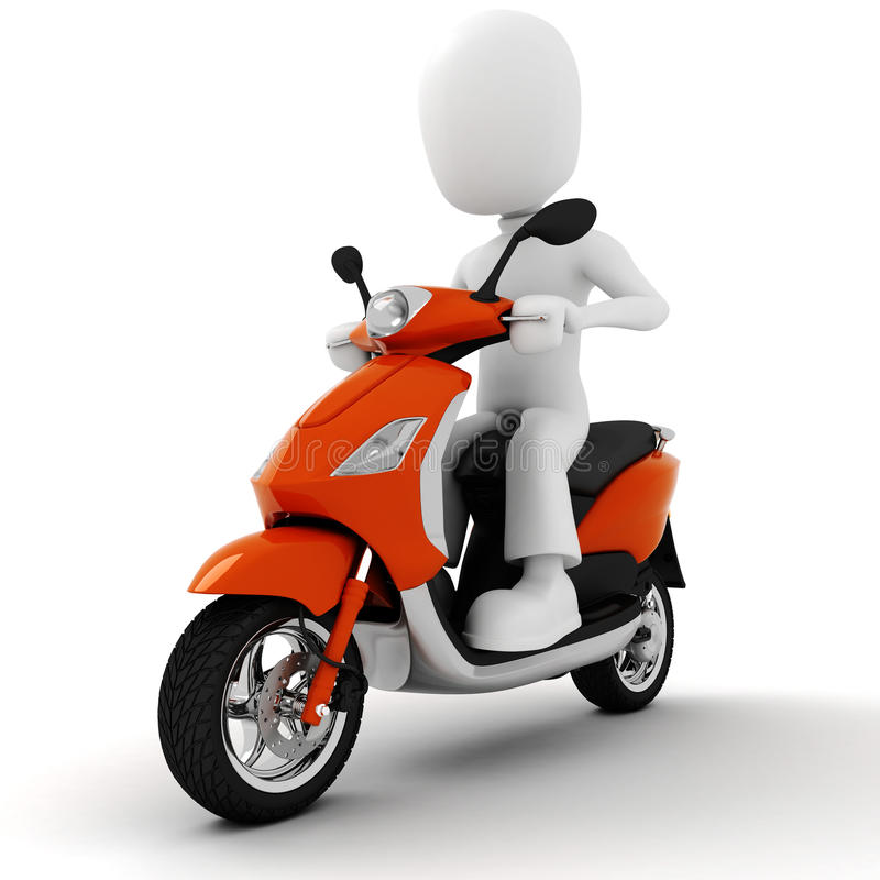 homme 3d sur la moto illustration stock