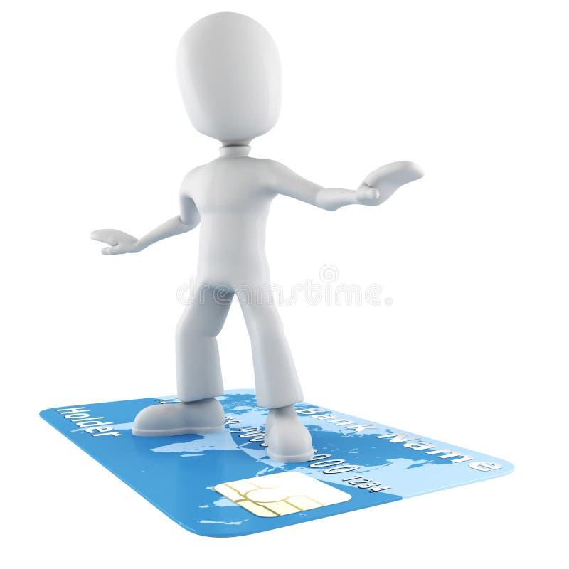 homme 3d surfant sur un par la carte de crédit illustration stock
